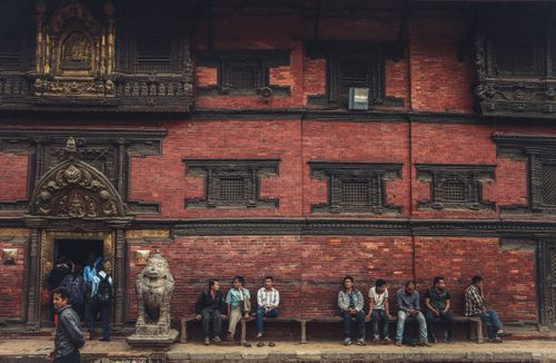 People,with,their,daily,lives,surrounded,in,beautiful,Nepali,Wooden,Arts