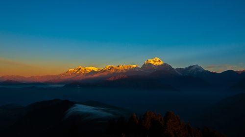 Golden,shining,Mount,Dhaulagiri,photo,was,taken,during,Poonhill,trekking,,Nepal.