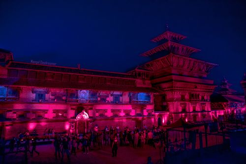 patan,durbar,square,turned,red