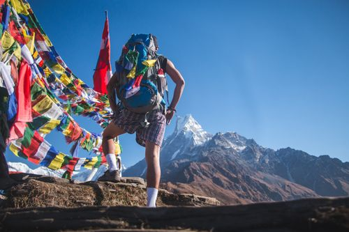 tourist,standing,front,nepal,flag,mardi,himal