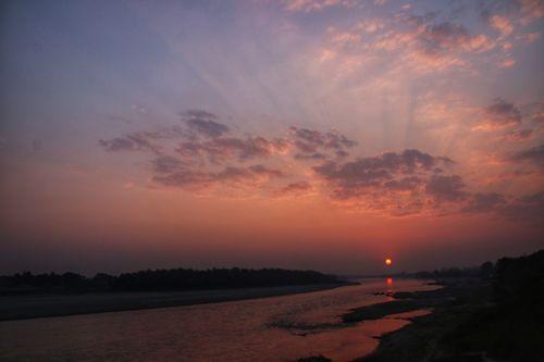 sunset,view,narayani,river