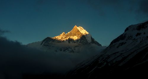 sunrise,reflection,mt,machapuchre,view,annapurna,base,camp