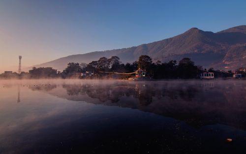 reflection,taudah,lake,kathmandu,nepal,famous,city