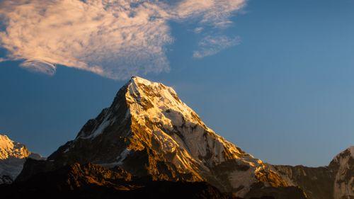 shining,mount,annapurna,south,capture,poonhill,trek,nepal
