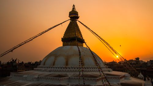 gloomy,sunset,baudha,kathmandu,nepal,famous,place,buddhism