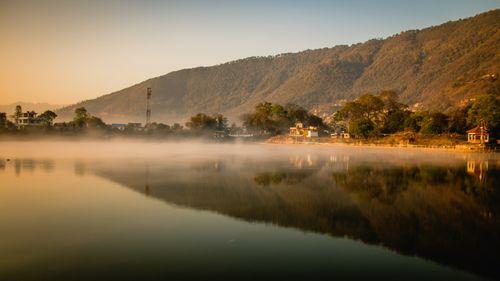 reflection,hattiban,hill,taudah,lake,kathmandu,nepal