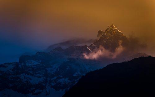 mount,fishtail,cloud,photo,siding,machhapuchre,pokhara,nepal
