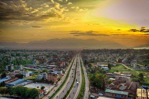 kathmandu,valley,lane,highway,thimi,bhaktapur,road,aerial,shot