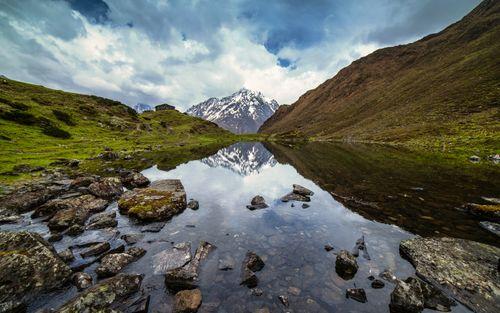 mountain,reflection,cheseong,lake,chum,valley,gorkha,nepal