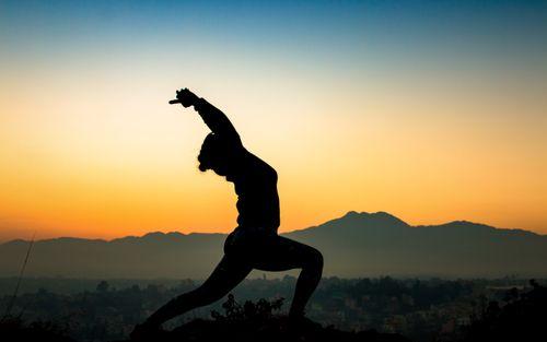 early,morning,yoga,chobar,hill,kathmandu,nepal