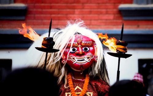 traditional,lakhey,dance,photo,gathemangal,festivel,patan,lalitpur,nepal