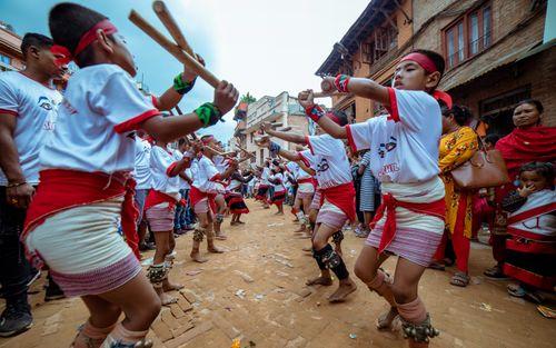 lathi,dance,gai,jatra,festival,bhaktapur,nepal