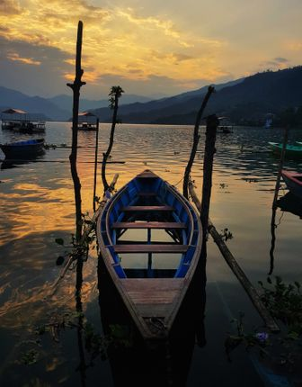 boating,lake,sunset