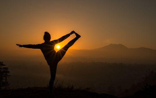 early,morning,yoaga,exercise,sunrise,chobar,hill,nepal