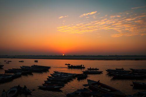 sunset,ganga,river