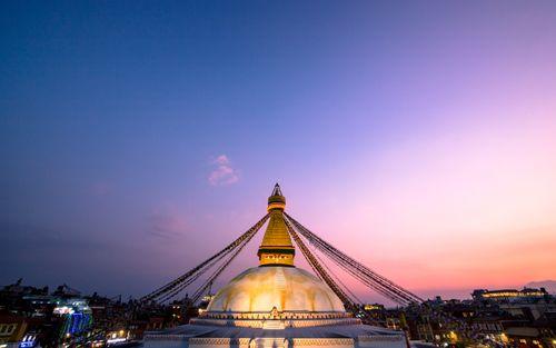 beautiful,gloomy,sunset,bauddha,stupa,kathmandu,nepal