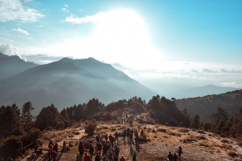 people,gathered,poon,hill,view,point,morning,sun,rise