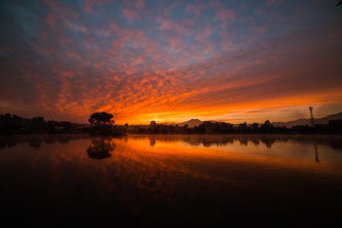 sunrise,taudha,lake