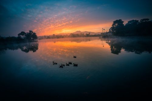 beautiful,sunrise,taudha,lake