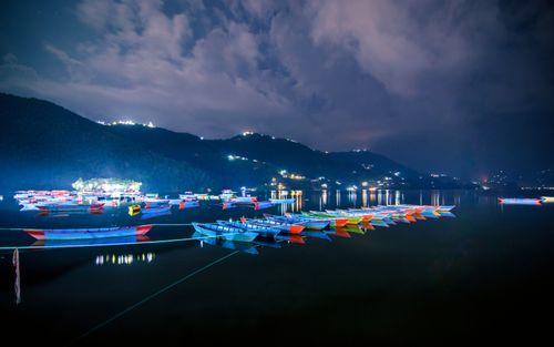 beautiful,evening,view,parking,boats,fewa,lake,pokhara,nepal