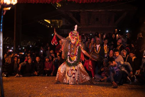 celebration,kartik,naachkartik,dance,held,patan,durbar,square,narshima,avatar,mid,night,lalitpur