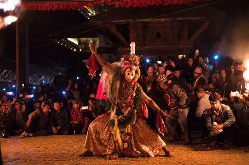 celebration,kartik,naachkartik,dance,held,patan,durbar,square,narshima,avatar,mid,night,lalitpur