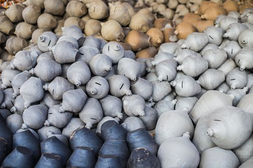 handmade,clay,piggy,bank,natural,background,pottery,square,bhaktapur,nepal