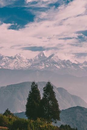 mountains,tree,blue,sky,clouds