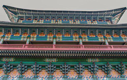 low,angled,view,korean,temple,lumbini