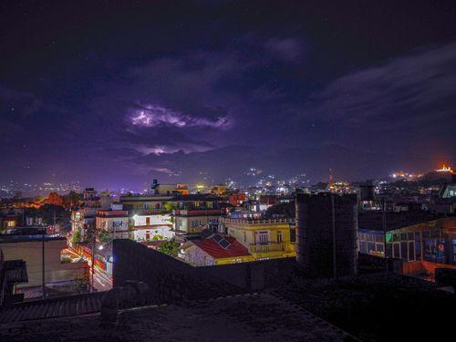 beauty,kathmandu,valley,enhances,night,lights,twinkling,stars,sky,beautiful,lightning