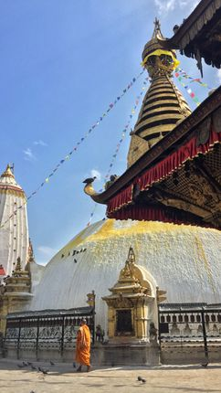 solace,solitude,buddhist,monk,circumambulating,ancient,stupa,swayambhu,mahachaitya