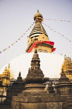 swayambhu,ancient,religious,architecture,atop,hill,kathmandu,valley,west,city