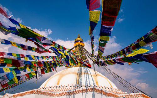 beautiful,view,prayer,flag,baudha,stupa,kathmanu,nepal