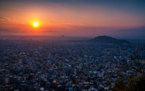 beautiful,sunrise,kathmandu,valley,nepal