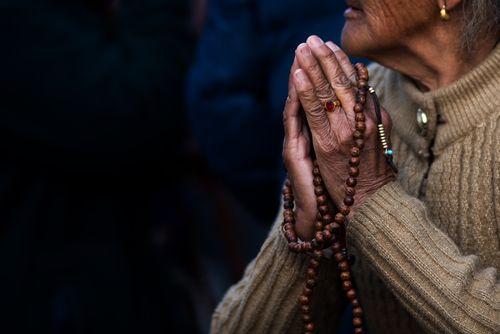 lady,making,namaste,gesture,show,devotion,god,hope,peace