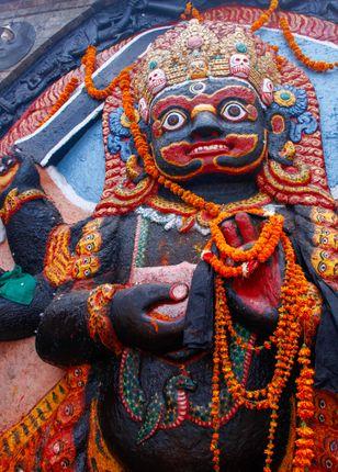 statue,lord,kaal,bhairav,kathmandu,durbar,square,nepal