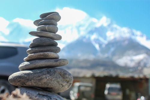 stack,rocks,infront,himalayas