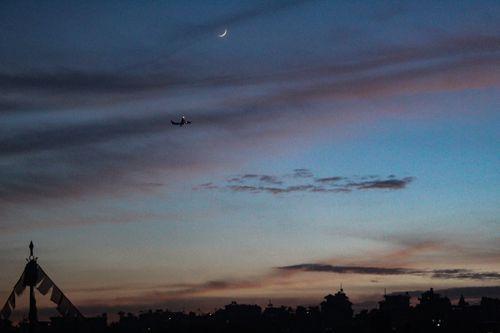 aeroplane,flies,sky,lovely,evening,beauty,added,moon