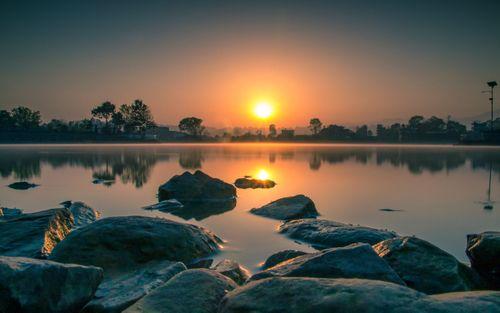 beautiful,sunrise,taudah,lake,kathmandu,nepal