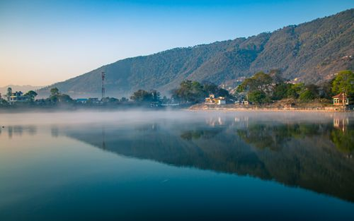 beautiful,reflection,taudah,lake,kathmandu,nepal
