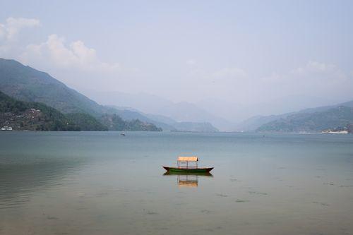 empty,boat,laying,phewa,lake,pokhara