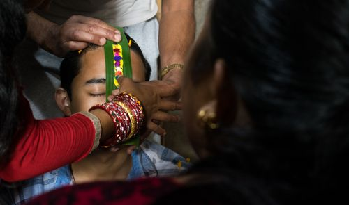 sister,putting,colors,forehead,brother,bhaitika,important,festival,hindus,nepal