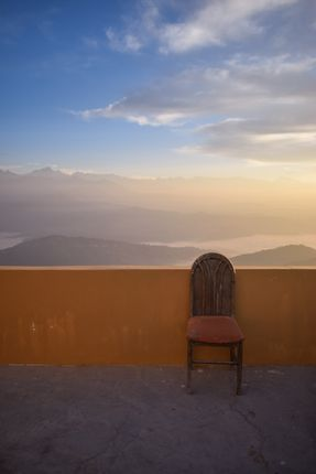 empty,chair,hotel,terrace,beautiful,background,nagarkot,nepal