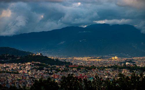 beutiful,landscape,view,swayambhunath,temple,kathmandu,valley,sunset,nepal