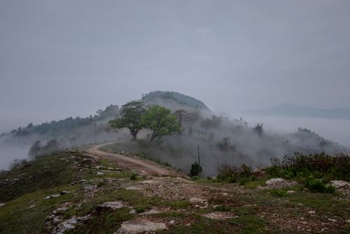 fog,covers,top,hill,tanahun,nepal