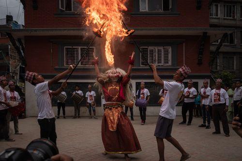 lakhey,creates,fire,patan,nepal