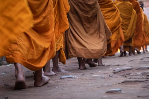 footsteps,young,monks,walking,barefoot,path