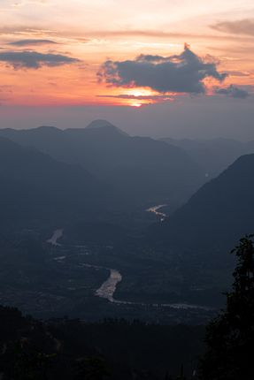 view,trishuli,river,beneath,setting,sun,atop,manakamana,hill,gorkha,nepal