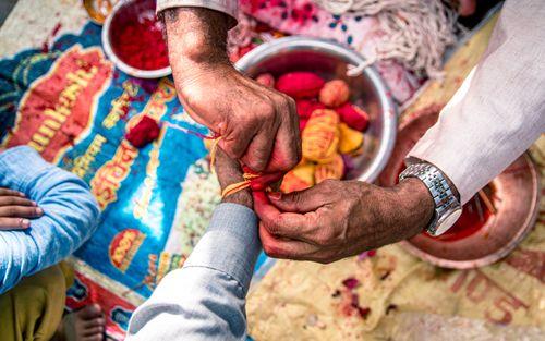 sacred,colorful,thread,janai,purnima,festival,kathmandu,nepal