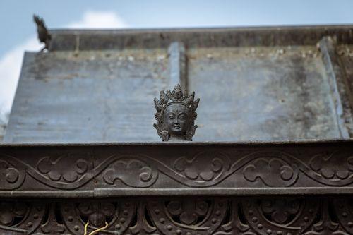 statue,atop,monastery,swayambhunath,kathmandu,nepal